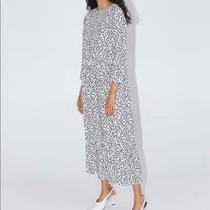 Zara White & Black Polka Dot Dress - Size XS